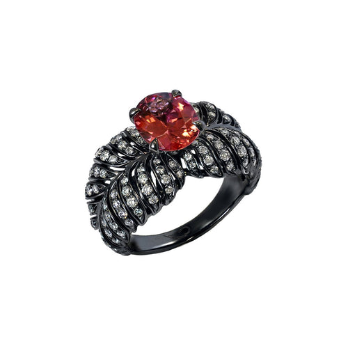 White Gold, Diamond & Tourmaline Angel Ring | Chekotin Jewellery