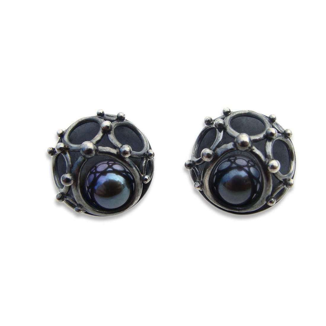 16mm Annulars Studs With Freshwater Pearl-Zalisander-JewelStreet US