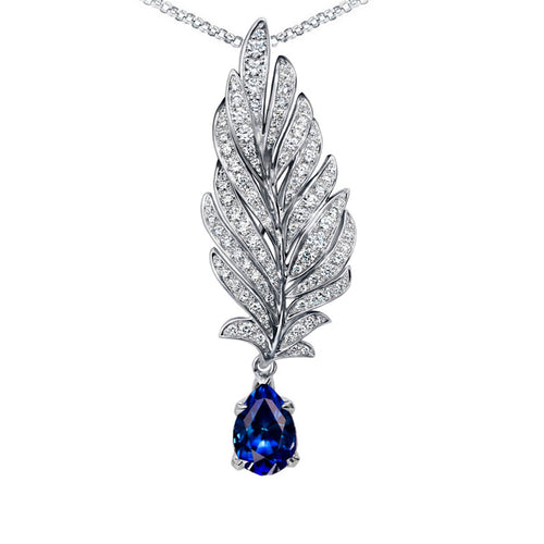 White Gold, Diamond & Sapphire Angel Pendant | Chekotin Jewellery