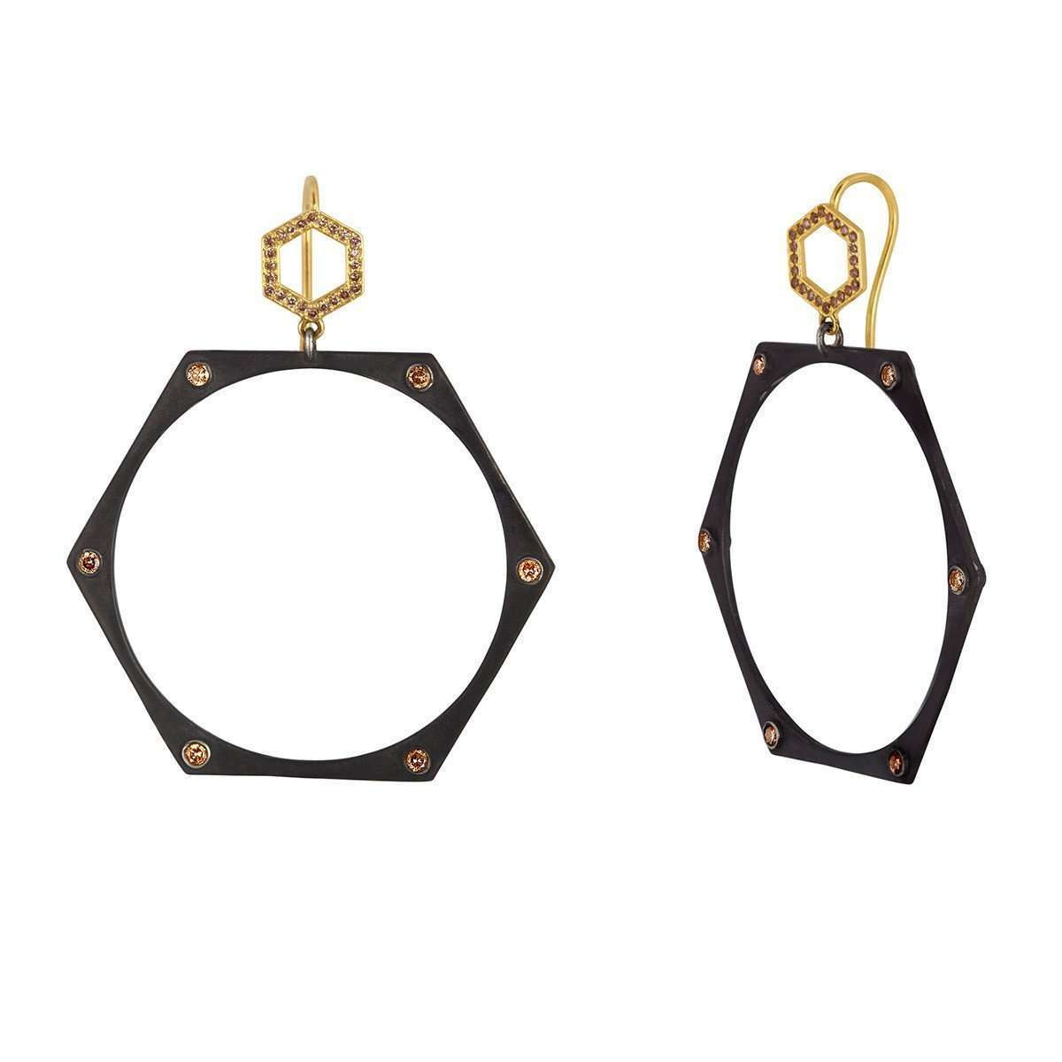 Mix Black and Gold Earrings-Amy Glaswand-JewelStreet US