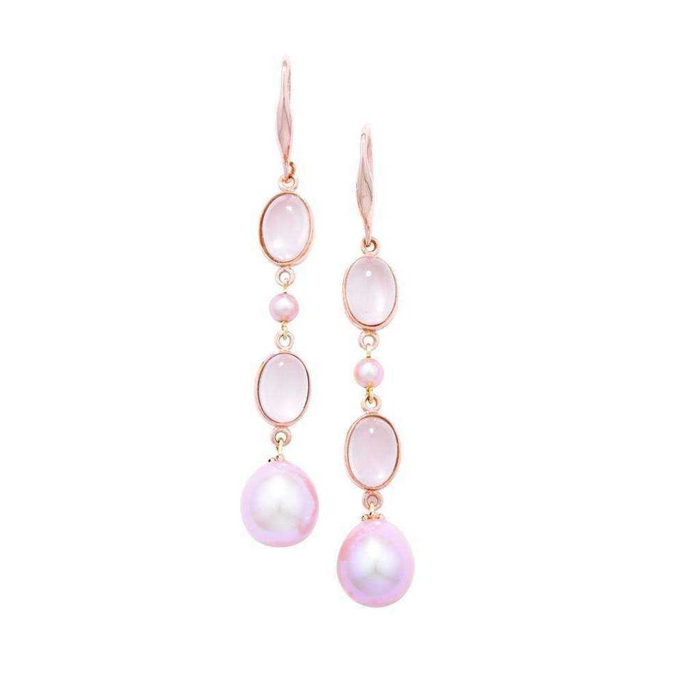Burlington Rose Gold Rose Quartz and Pearl Drop Earrings
