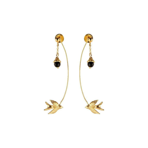Gold Swallow and flower earrings-Roz Buehrlen-JewelStreet US