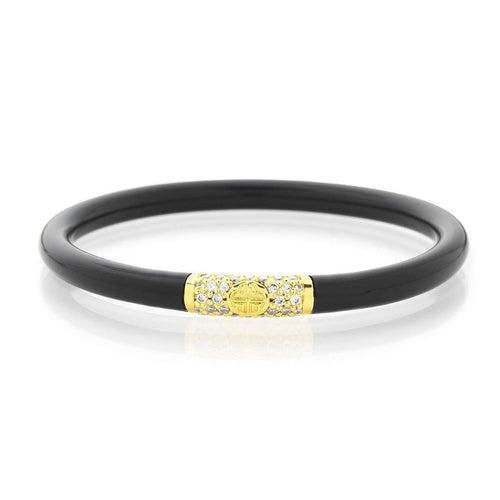 Black All Weather Bangles With Gold Bead-BuDhaGirl-JewelStreet US
