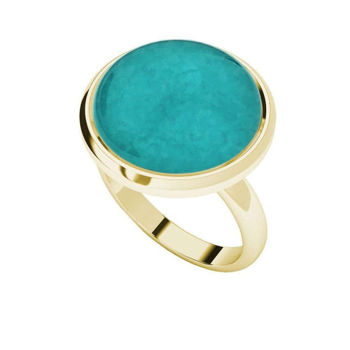 Amazonite Yellow Gold Plated Cabochon Ring-StyleRocks-JewelStreet US