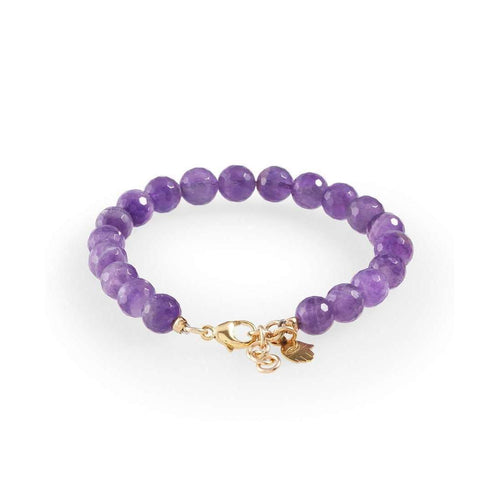 Amethyst Bracelet with Gold Hamsa-Loushelou-JewelStreet US