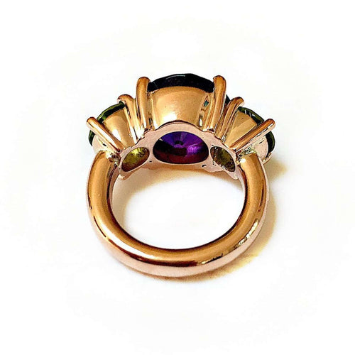 Amethyst And Peridot Cocktail Ring-Beryl Dingemans Jewellery-JewelStreet US