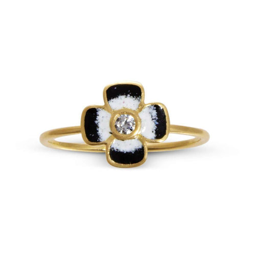 Anthea Diamond and Enamel Flower Ring-Liz Phillips-JewelStreet US