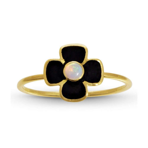Anthea Opal and Enamel Flower Ring-Liz Phillips-JewelStreet US
