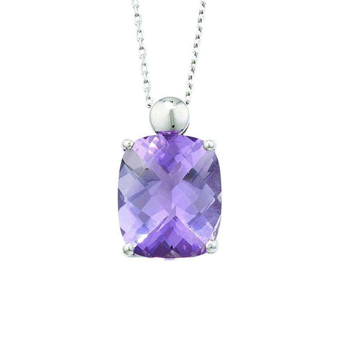 Bloomsbury White Gold Amethyst Pendant-London Road Jewellery-JewelStreet US