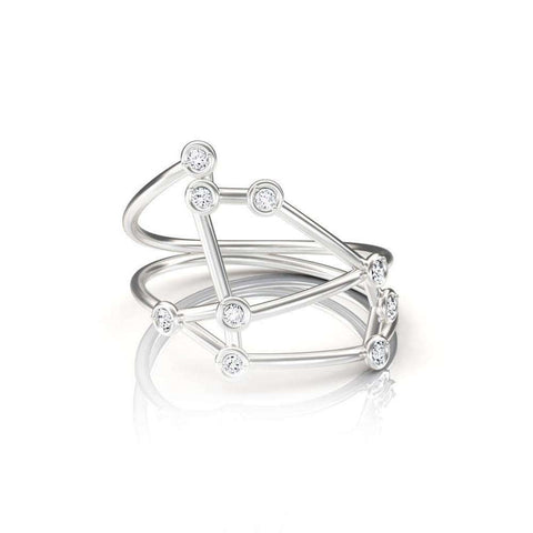 White Gold Saggitarius Star Sign Constellation Ring