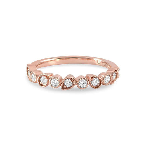 Leah Rose Gold Diamond Stacking Ring-Estenza-JewelStreet US