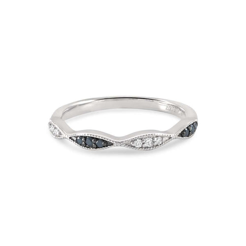 Gia Black and White Diamond Stacking Ring-Estenza-JewelStreet US
