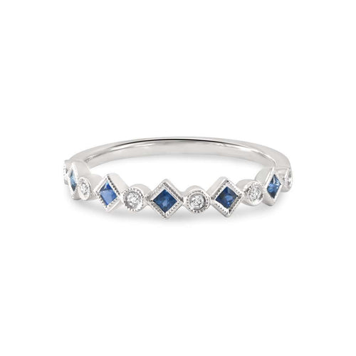 Pam Blue Sapphire White Gold Stacking Ring-Estenza-JewelStreet US
