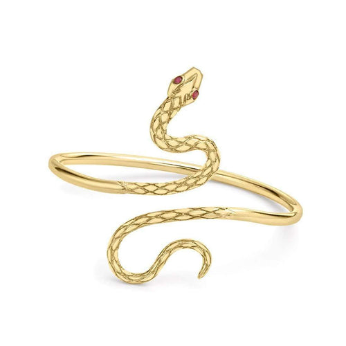 Kew Serpent Yellow Gold Ruby Bangle-London Road Jewellery-JewelStreet US
