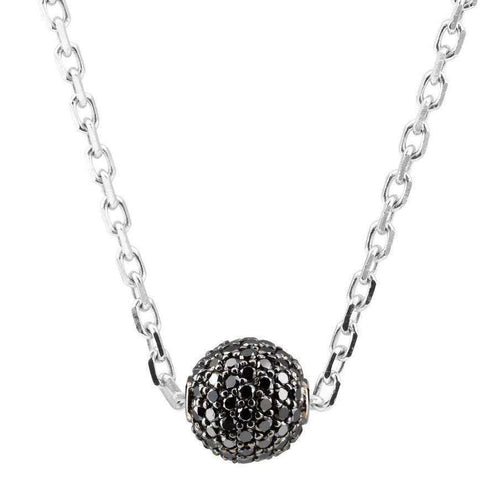 Black Diamond Ball Pendant on Chain-Loushelou-JewelStreet US