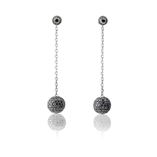 White Gold Earrings with Black Diamonds-Loushelou-JewelStreet US