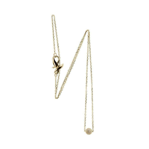 White Diamond Yellow Gold Ball Pendant on Chain-Loushelou-JewelStreet US