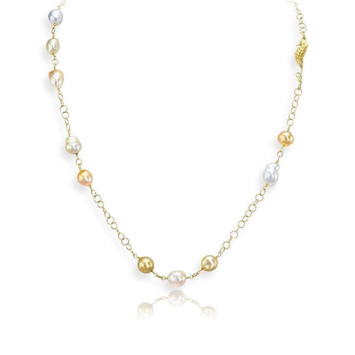 Baroque Cultured Pearl Necklace-LJD Designs-JewelStreet US