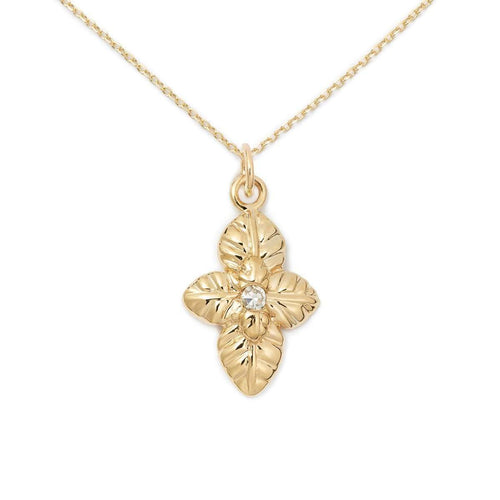 14K Gold + Diamond Basil Necklace-Delicacies Jewelry-JewelStreet US