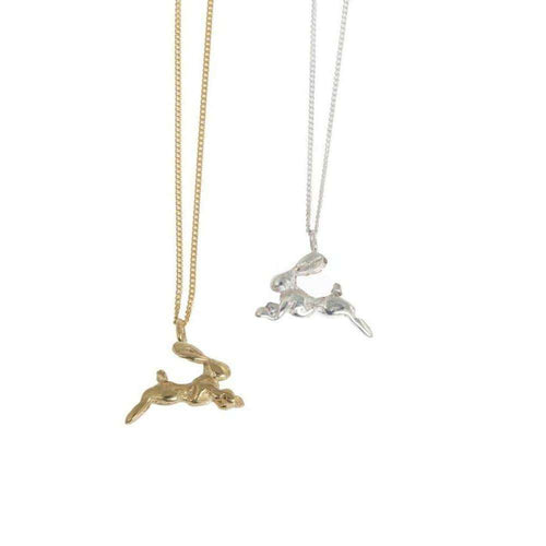 Gold Miniature Hare Necklace-By Emily-JewelStreet US