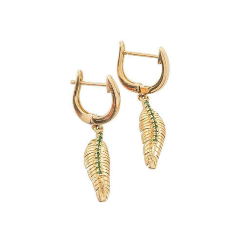 Banana Leaf Gold Dangling Earrings With An Emerald Stem-Betty Balaba-JewelStreet US