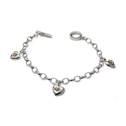 Silver & 9kt Yellow Gold Heart Charm Bracelet ,[product vendor],JewelStreet