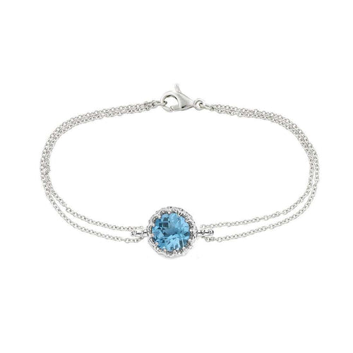 Bloomsbury White Gold Chequer-cut Blue Topaz Coronation Bracelet-London Road Jewellery-JewelStreet US