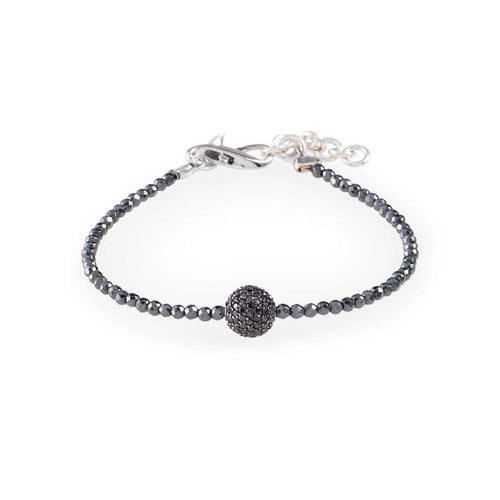Black Diamond Pavé Ball with Hematite-Loushelou-JewelStreet US