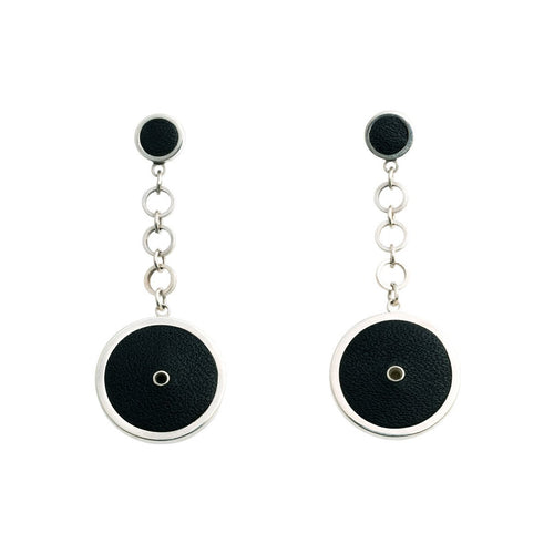 Sterling Silver & Leather Circle Earrings