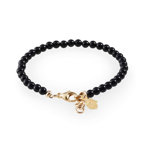 Black Onyx Bracelet With Gold Hamsa-Loushelou-JewelStreet US