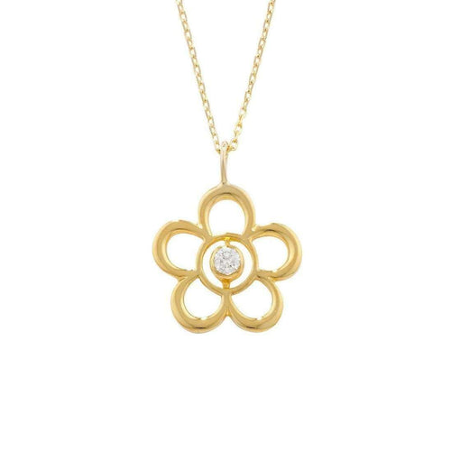Blossom Birthstone Yellow Gold Diamond Pendant-London Road Jewellery-JewelStreet US