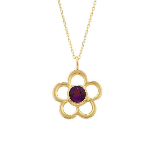 Blossom Birthstone Yellow Gold Amethyst Pendant-London Road Jewellery-JewelStreet US