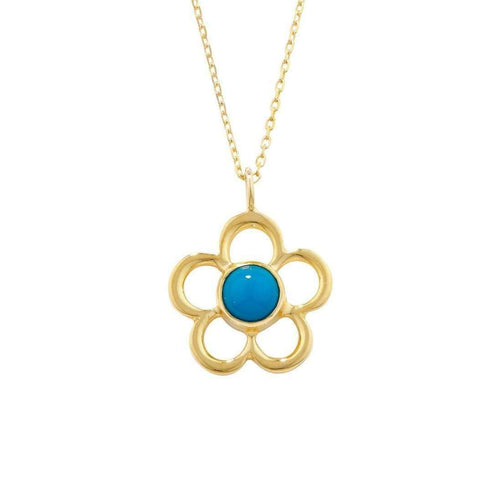 Blossom Birthstone Yellow Gold Turquoise Pendant-London Road Jewellery-JewelStreet US