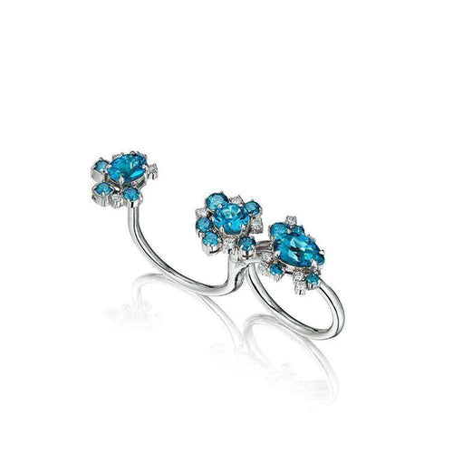 Blue Topaz And Diamond Melting Ice Convertible Single-Double Ring-Madstone Design-JewelStreet US