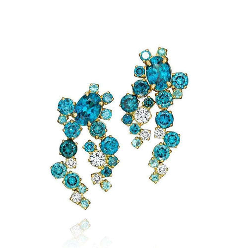 f4ff00766 Teal Blue Zircon and Diamond Melting Ice Earrings-Madstone  Design-JewelStreet US