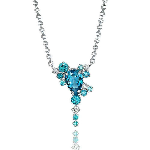 Blue Topaz and Diamond Melting Ice Pendant-Madstone Design-JewelStreet US