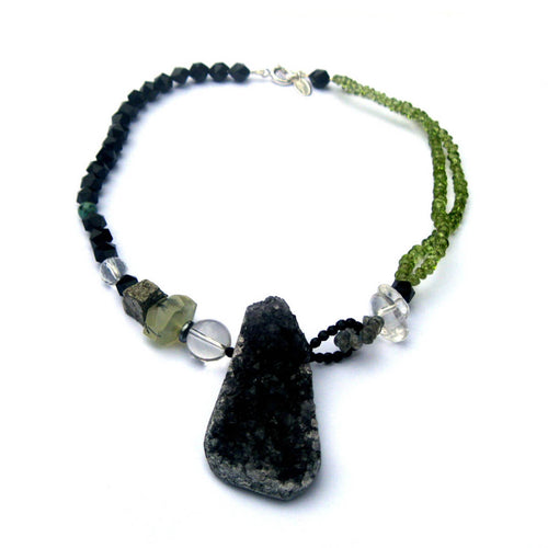 Vert Noir Raw Amethyst Druzy Duchess Necklace ,[product vendor],JewelStreet