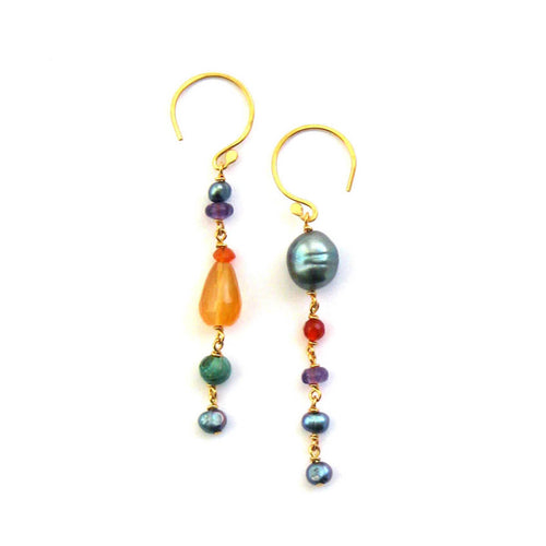 Fresco Long Drop Gold Vermeil Duet Earrings ,[product vendor],JewelStreet