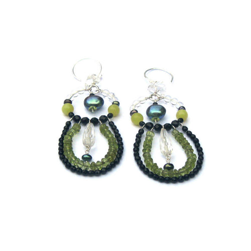 Vert Noir Mixed Gemstone Statement Opera Earrings ,[product vendor],JewelStreet