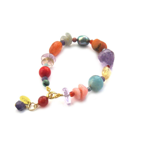 Fresco Eclectic Gemstone Pebble & Grey Pearl Bracelet ,[product vendor],JewelStreet