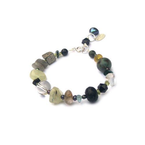 Vert Noir Mixed Gemstone Eclectic Pebble Bracelet ,[product vendor],JewelStreet
