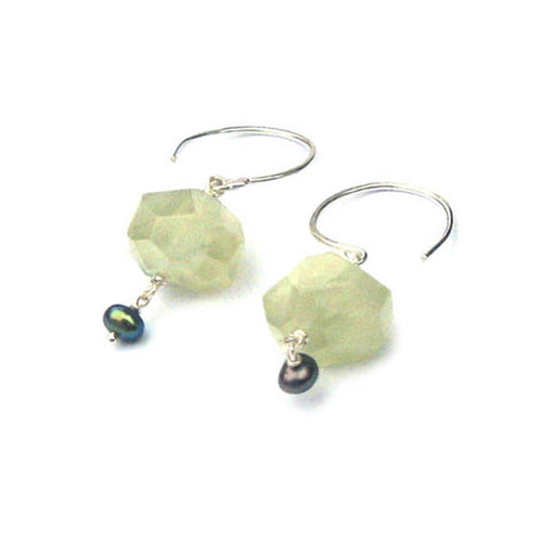 Vert Noir Faceted Prehnite & Freshwater Pearl Pebble Earrings ,[product vendor],JewelStreet