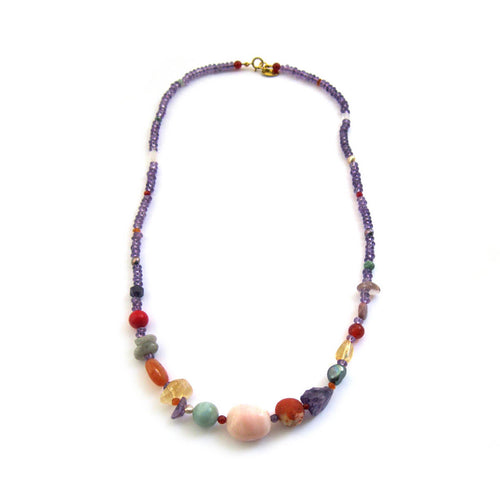 Gemstone Nugget & Amethyst Rondelle Pebble Necklace ,[product vendor],JewelStreet