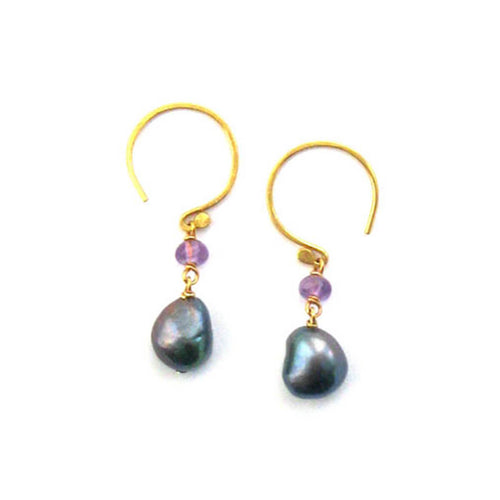 Fresco Baroque Pearl & Amethyst Princess Earrings ,[product vendor],JewelStreet