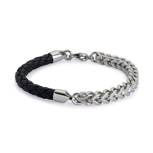 Armour Leather and Steel Bracelet - Black and Silver