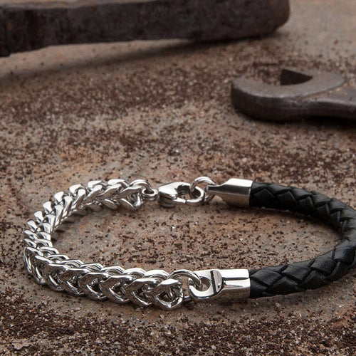 Armour Leather and Steel Bracelet - Black and Silver-KAVALRI-JewelStreet US