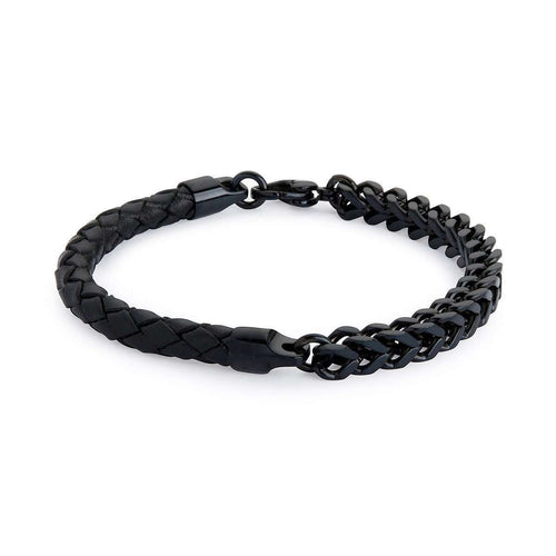Armour Leather and Steel Bracelet - Double Black