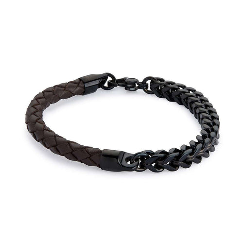 Armour Leather and Steel Bracelet - Brown and Black