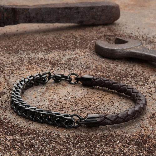 Armour Leather and Steel Bracelet - Brown and Black-KAVALRI-JewelStreet US