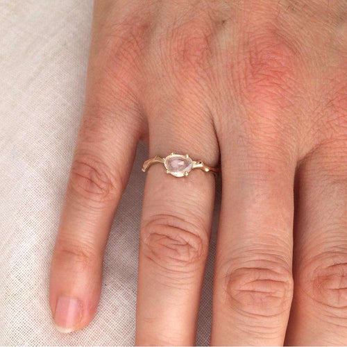 Twig Engagement Ring in Gold With White Sapphire-Brandts Jewellery-JewelStreet US